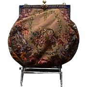 Vintage Micro Petit Point Tapestry Purse with Enameled and Jeweled Frame