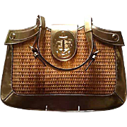 Vintage Rodo Wicker and Leather Handbag