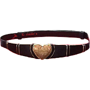 "Vintage Dressy Judith Leiber Satin Belt with ""Heart"" Buckle"
