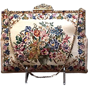 Vintage Hand Made Petit Point with Enameled/Jeweled Frame  ***Never Used***