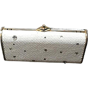 Vintage Judith Leiber White Crystal Minaudiere with Clear Crystal Embellishments