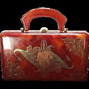 Vintage Koret Custom Tortoise Lucite with Hand Painting
