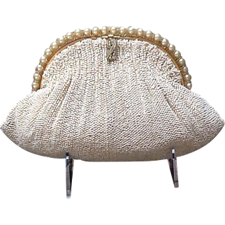 Vintage Ed Robinson's Beaded Purse with Faux Pearl Frame