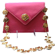 Vintage Valentino Garavani Pink Handbag with Ornate Chain  ***MINT***