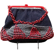 Vintage Beaded Knit and Plastic Mid Century Handbag