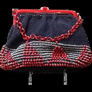 Vintage Beaded Knit and Plastic Mid Century Handbag