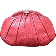Vintage Leiber Coral Python Handbag with Jeweled Accents
