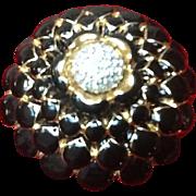 Vintage Judith Leiber Enameled Brooch with Swarovski Crystals