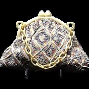 Vintage Funky Charlet Barkcloth Handbag with Beading