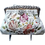 Vintage Beaded Purse with Tambour Embroidery and Ornate Frame with Beads and Enameling