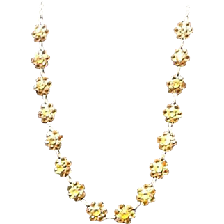 Vintage Czech Necklace with Amber Colored Crystals