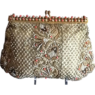 VIntage French Silk Purse with Faux Pearls, Faux Coral, Rhinestones and Beading