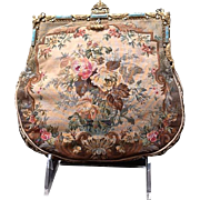 Vintage Petite Petit Point Handbag with Jeweled Frame