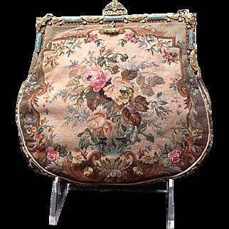 Vintage Petite Petit Point Handbag with Jeweled Frame