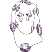 Vintage Monies Demi Parure: Opera Length Necklace and  Earrings: Amethyst Lucite