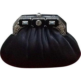 VIntage Judith Leiber Satin Evening Purse with Oriental Strassed Crystal and Onyx Frame