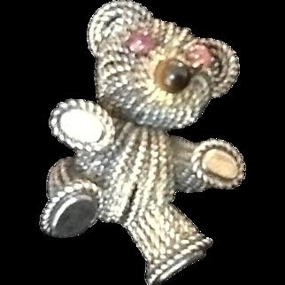 """VIntage Grosse Sterling """"Teddy Bear"""" Brooch"""