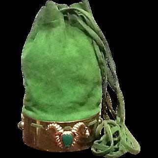 "Vintage Suede Cross Body Handbag with ""Mexican Aztec Mask Figures"""