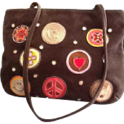 Vintage Moschino Suede Bag with Hand Embroidered Appliques