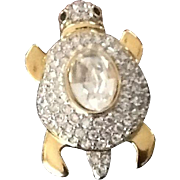 Vintage Valentino Turtle Brooch with Shiny Rhinestone Crystals