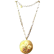 Vintage Lagerfeld  Enameled Pendant Necklace with Faux Pearl Accents