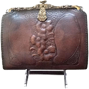 Vintage Jemco Tooled Leather Bag with Fabulous Frame
