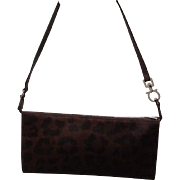 "VIntage Ferragamo Small ""Faux"" Leopard  Purse with Chunky Hardware"