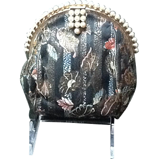 Vintage French Petite Brocade Purse with Faux Pearl Frame