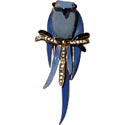 Vintage Fenichel Enameled Owl Fur Clip/Brooch with Diamante Crystals