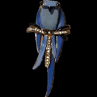 Vintage Fenichel Enameled Owl Fur Clip/Brooch with Diamante Crystals