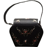 Vintage Satin Handbag with Tambour Embroidery