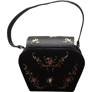 Vintage Satin Handbag with Tambour Embroidery