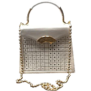 "Vintage Lagerfeld ""Tic Tac Toe""  Handbag with Ball Chain"