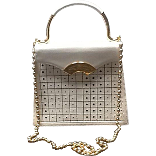 "Vintage Lagerfeld ""Tic Tac Toe""  Handbag with Ball Chain"