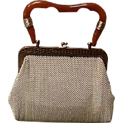 "Vintage Whiting and Davis Mesh Bag with ""Bakelite"" Handle  ***Near MINT***"