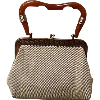 """Vintage Whiting and Davis Mesh Bag with """"Bakelite"""" Handle  ***Near MINT***"""