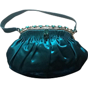 Vintage Ed Robinson Silk Evening Purse with Jewel Frame ***MINT***