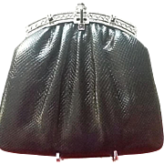 VIntage Judith Leiber Karung Lizard Evening Handbag with Marcasite and Stone Ornamentation ***Near Mint***