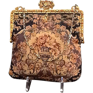 Vintage Petit Point Floral Tapestry with Jeweled Frame