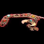 Rare Vintage Hattie Carnegie Ethnic Bracelet with Dragon's Tooth Pendant