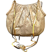 Vintage Judith Leiber Python Handbag with Gold/Silver Chains