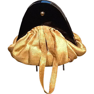Vintage Gold Lame Evening Bag with Lucite Frame