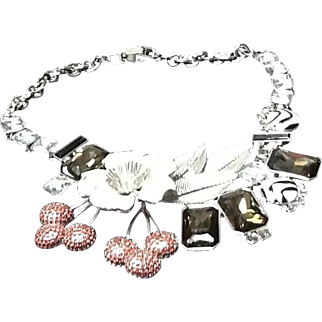 Judith Leiber Glitzy Statement Necklace with Stones, Enameling and Swarovski Crystals ***MINT***