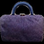 "Vintage Susan Bennis Warren Edwards Suede ""Leopard""  Handbag"
