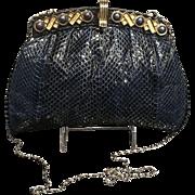 """Vintage Snakeskin Shoulder Bag/ Clutch with Jeweled """"Kisses and Hugs""""  Frame"""