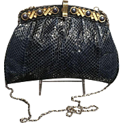 "Vintage Snakeskin Shoulder Bag/ Clutch with Jeweled ""Kisses and Hugs""  Frame"