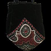 Handmade Huge Velvet   Pouch with Beading