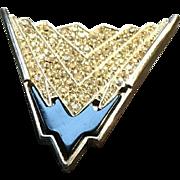 "Vintage Leiber ""Deco"" Inspired Fur Clip/Brooch with Swaroski Crystals"