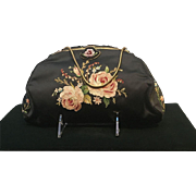Vintage French Hand Made Silk Evening Bag with Point de Beauvais Stitchery