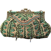 Vintage Beaded and Embroidered Handbag with Jeweled Frame